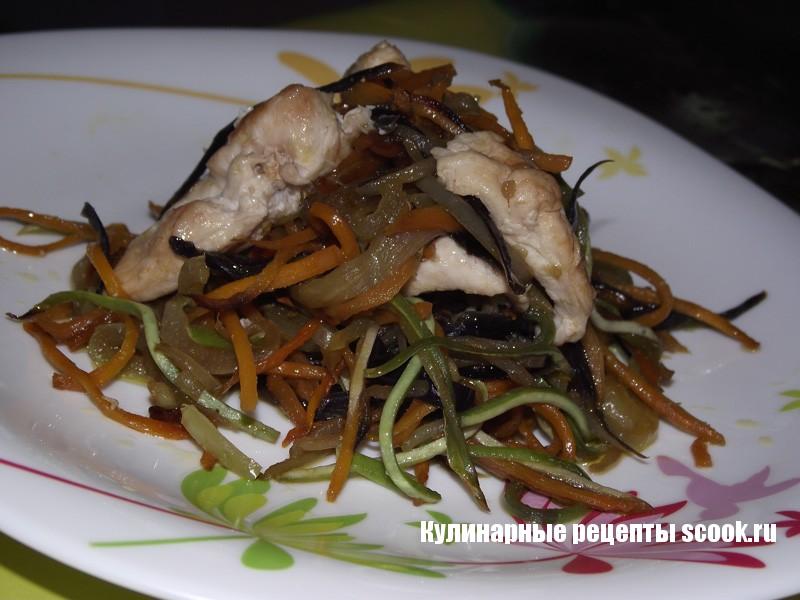 Овощи с курицей на сковороде