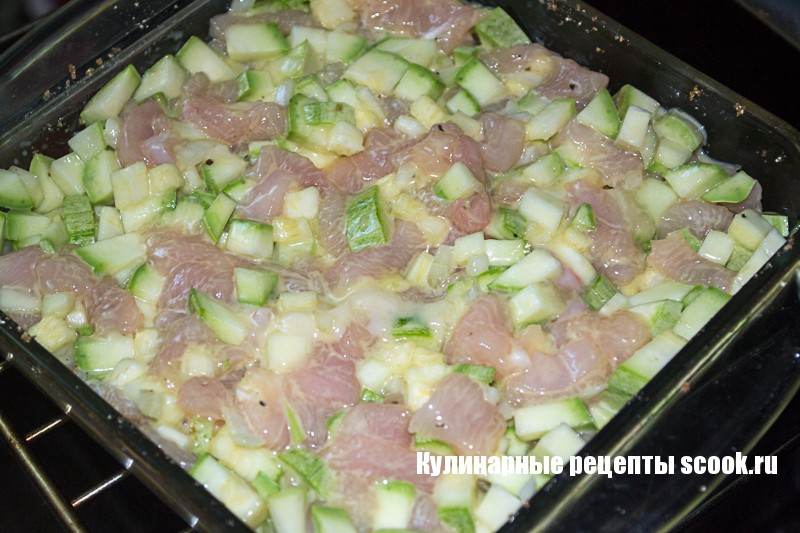 Рецепт курица с кабачками в духовке фото