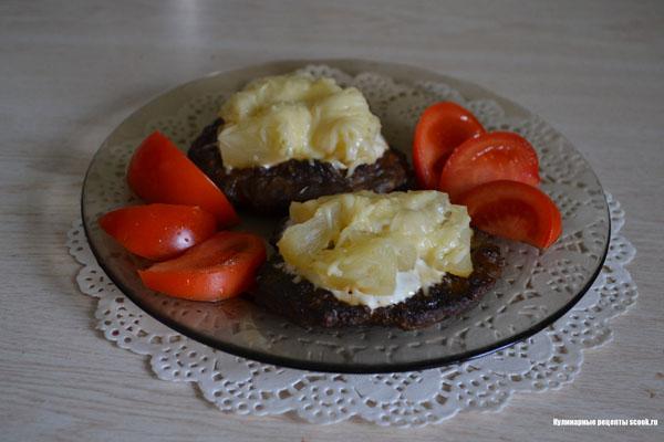 Оладьи печёночные с ананасом и сыром