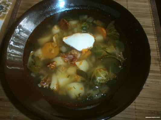 Суп скопчеными ребрышками и овощами