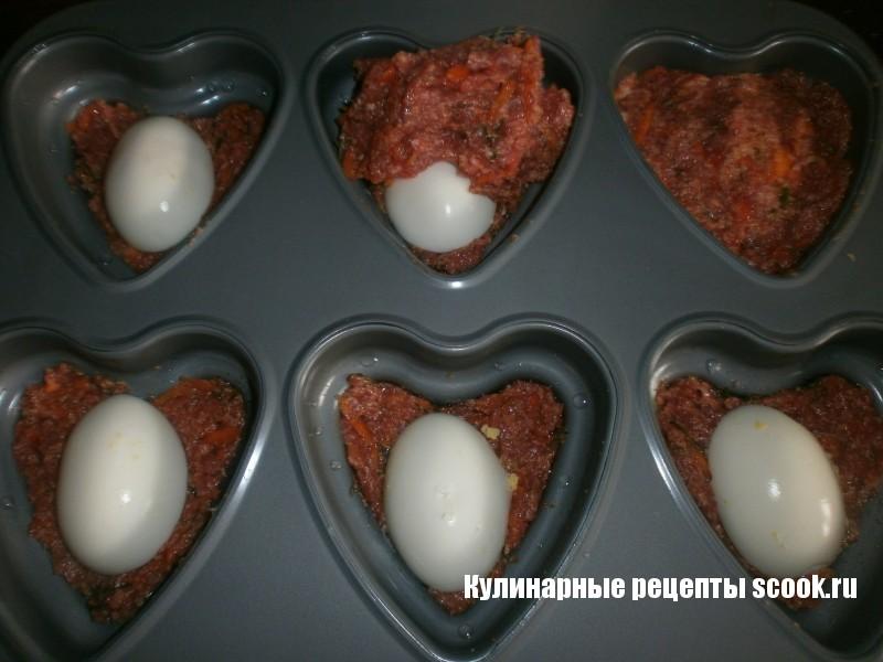 Рулетики-сердечка с яйцом
