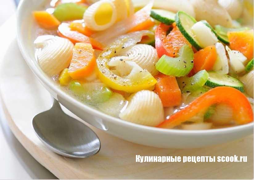 Овощной суп макаронами