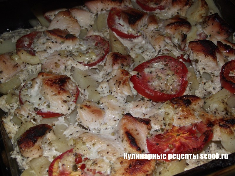 Курица маринованная в кефире, запечёная с картошкой