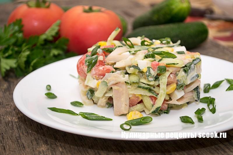 Овощной салат с кальмарами