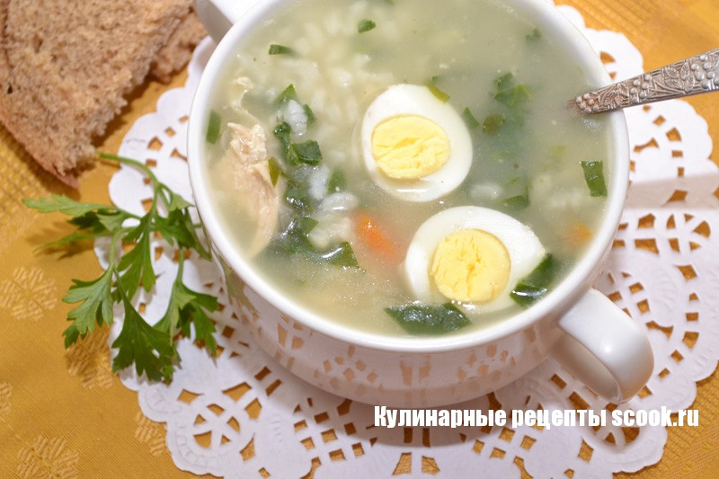 Рисовый суп со шпинатом