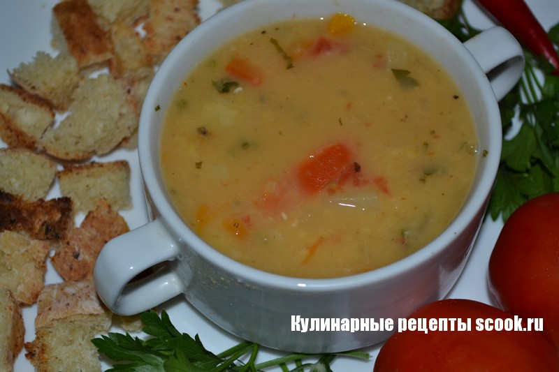 Суп гороховый с овощами