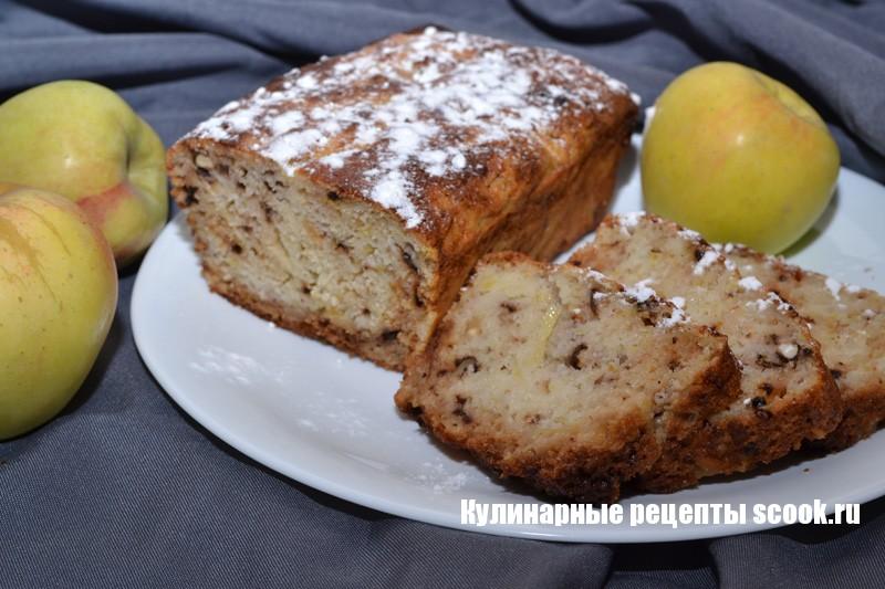 Кекс с яблоками и орехами