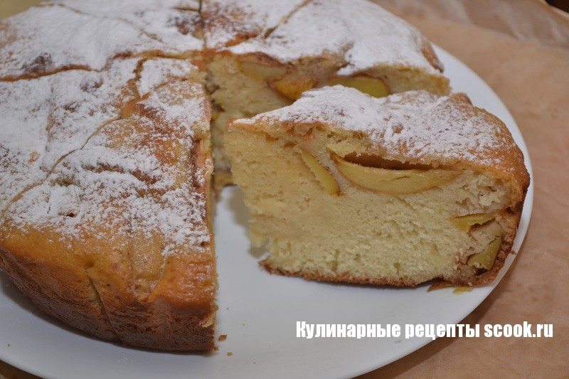 Пирог яблочный на молоке